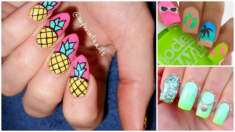 16 Tropical Nail Designs That Will Have You Dreaming Of A Beach Vacation - Tropical Flower Nails. Tropical Nail Art For Adorable Summer Nails